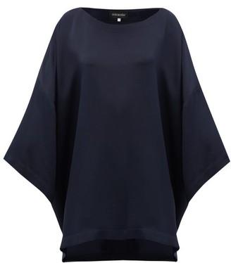 eskandar Boat-neck Oversized Silk-crepe Top - Womens - Navy