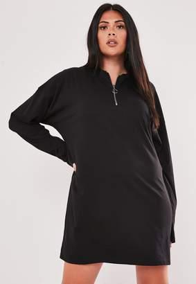 Missguided Plus Size Black Zip T Shirt Dress