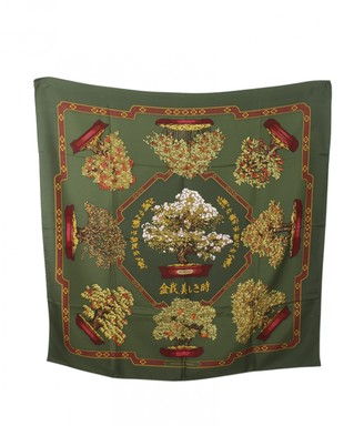 Hermes Green Silk Scarves