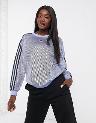 adidas mesh crew neck sweatshirt in blue