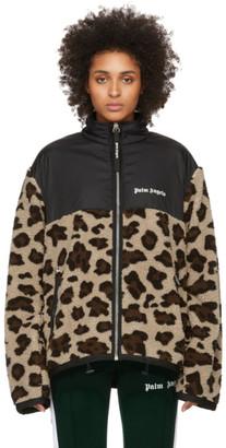 Palm Angels Black Sherpa Animalier Jacket
