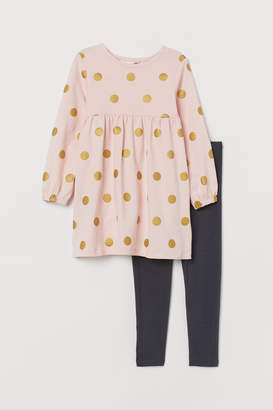 H&M Jersey Dress and Leggings - Pink