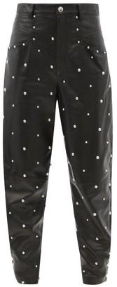 Isabel Marant Xiamali High-rise Studded-leather Trousers - Black