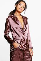 Boohoo Freya Premium Satin Tailored Blazer