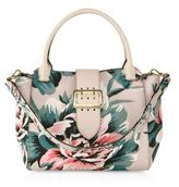Burberry Medium Floral-Print Leather Buckle Tote