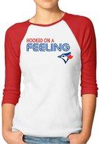 GWJEP Hooked On A Feeling Toronto Blue Jays Ladies' 3/4 Sleeve Raglan Tee Shirts Cotton