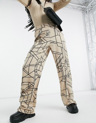 Vila printed casual wide leg bottoms in beige