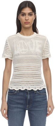 Amiri Love Intarsia Knit Crochet Top