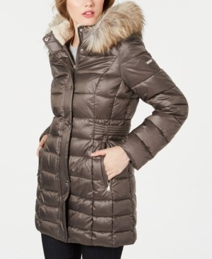 Laundry by Shelli Segal Petite Faux-Fur Trim Hooded Puffer Coat