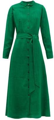 Cefinn - Belted Voile Shirtdress - Womens - Green