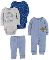 Carter's 4-Pc. Cotton Dinosaur Coverall, Bodysuits & Pants Set, Baby Boys