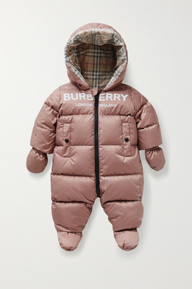 BURBERRY KIDS Hooded Printed Quilted Shell Down Onesie - Pink