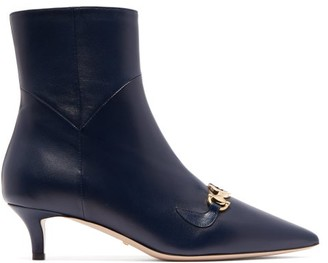 Gucci Zumi Leather Ankle Boots - Navy