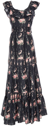 LoveShackFancy Joanne Ruffled Floral-print Silk Maxi Dress