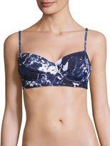 Norma Kamali Underwire Marble-Print Bikini Top