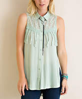Entro Sage Fringe-Accent Sleeveless Button-Up