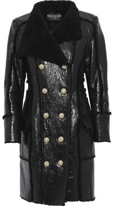 Balmain Double-breasted Shearling And Glossed Cracked-leather Coat