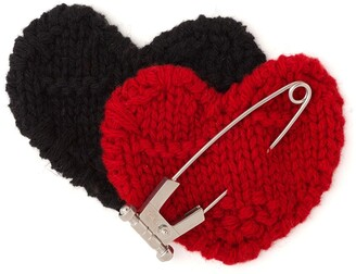 Prada Knitted Double Heart Pin