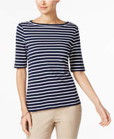 Charter Club Elbow-Sleeve Metallic-Striped Top, Created for Macy's