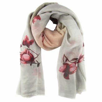 Zisla Women's floral print scarf in silver thread. One size 35 X 70 Inch (Grey Pink)