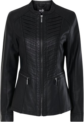 Wallis Black Faux Leather Stitch Front Jacket