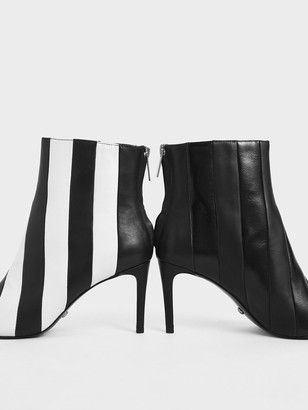 Charles & Keith Leather Striped Ankle Boots