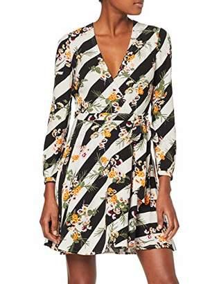 Karen Millen Women's Floral & Stripe Collection Dress, (Multicolour 39), (Size:)