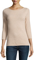 Neiman Marcus Cashmere Boat-Neck Pullover Sweater, Oatmeal