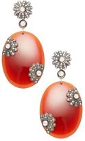 Artisan Oval Agate, Silver & 2.13 Total Ct. Diamond Drop Earrings