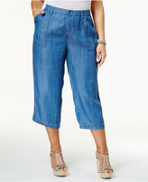 Style&Co. Style & Co Plus Size Chambray Wide-Leg Cropped Pants, Created for Macy's