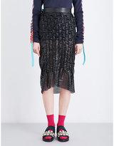 Martina Spetlova Smocked perforated leather midi skirt