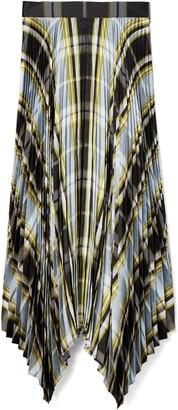 Tory Burch Sunburst Plaid Pleated Silk Skirt