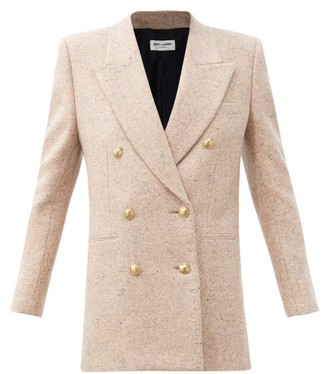 Saint Laurent Double-breasted Wool-tweed Coat - Light Pink