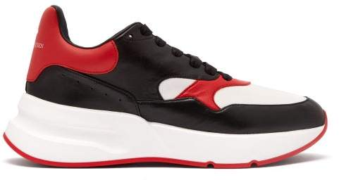online retailer 014f0 b9671 Runner Raised Sole Low Top Leather Trainers - Mens - Black Red