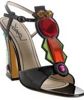 black patent 'Monaco' t-strap sandals