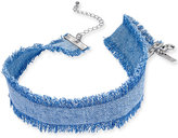 INC International Concepts Silver-Tone Denim Fringe Choker Necklace, Only at Macy's