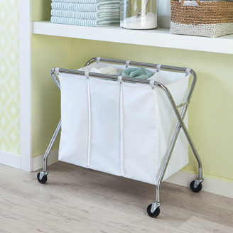 Container Store Heavy-Duty 3-Bin Rolling Laundry Sorter with Wheels