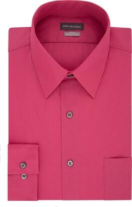 Van Heusen Men's Poplin Fitted Solid Point Collar Dress Shirt