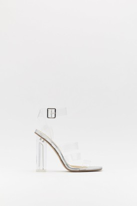 Nasty Gal Womens Triple Strap Clear Block Heels - white - 4
