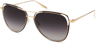 Barton Perreira Marquee Metal/Enamel Aviator Sunglasses, Gold/Jet
