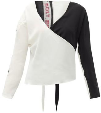 Bolt X Edie - Race Silk Wrap Top - Black White