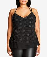 City Chic Trendy Plus Size Studded Racerback Tank Top