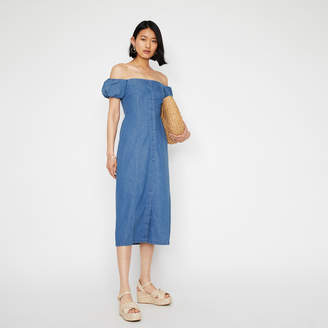 Warehouse BANDEAU MIDI DENIM DRESS