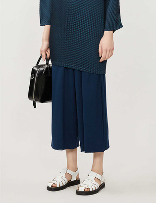Issey Miyake Ribbed high-rise wide cotton-blend trousers