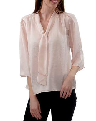 Anna Cai Neck Tie Detail Woven Top