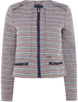 Salsa Striped Zip Up Short Fitted Jacket