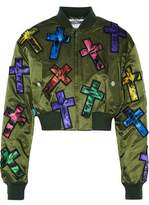 Moschino Cropped Appliquéd Satin Jacket