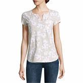 Liz Claiborne Short Sleeve Split Crew Neck T-Shirt-Talls