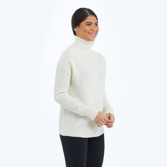 Summersalt The Luxe Cashmere Blend Funnel Neck Sweater - White Sand