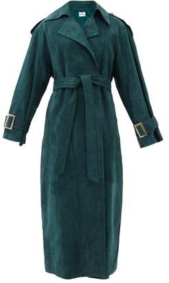 KHAITE Libby Suede Trench Coat - Dark Green